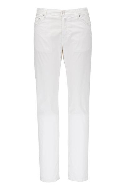 Kiton - White Five Pocket Slim Fit Jean