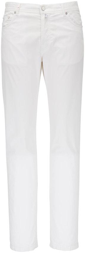 Kiton White Five Pocket Slim Fit Jean