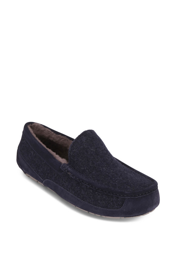 Ugg Ascot Uggpure Navy Blue Wool Shearling Slipper