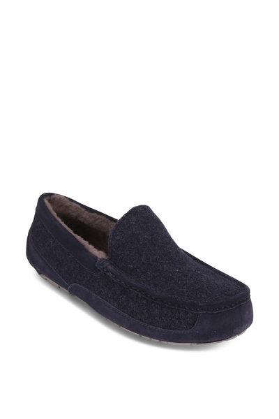 Ugg - Ascot Uggpure Navy Blue Wool Shearling Slipper