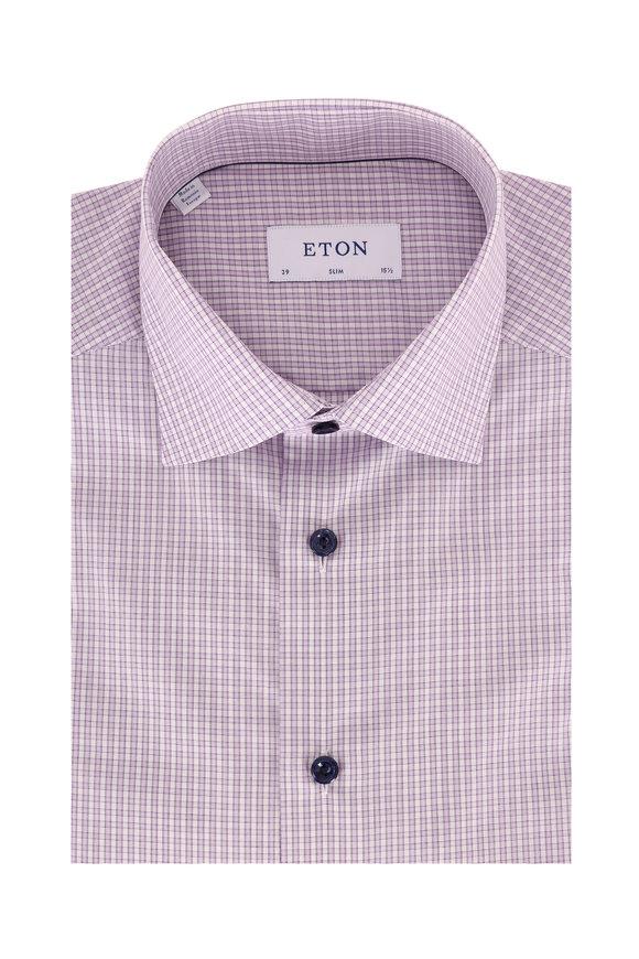 Eton Lilac Plaid Slim Fit Dress Shirt