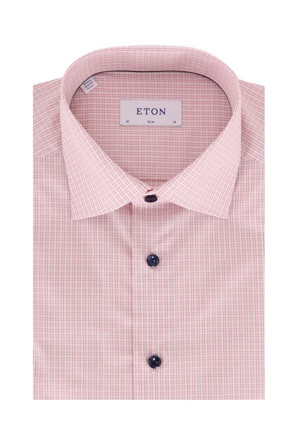 Eton Pink Plaid Slim Dress Shirt