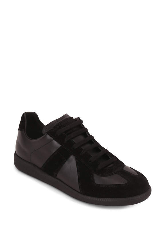 Maison Margiela Replica Black Leather & Suede Low Top Sneaker
