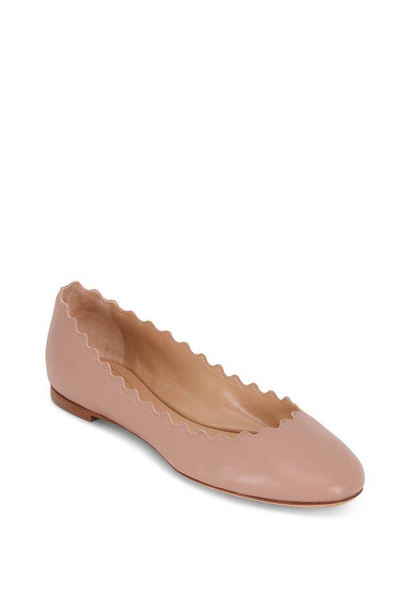 Chloé Lauren Pink Tea Leather Scallop Flat