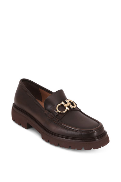 Salvatore Ferragamo - Bleeker Dark Brown Leather Bit Lug Sole Loafer