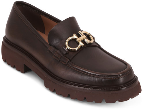 Salvatore Ferragamo Bleeker Dark Brown Leather Bit Lug Sole Loafer