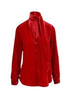 L'Agence - Gisele Barbados Red Velvet Tie Neck Blouse