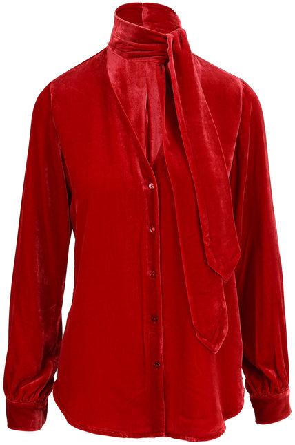 L'Agence Gisele Barbados Red Velvet Tie Neck Blouse