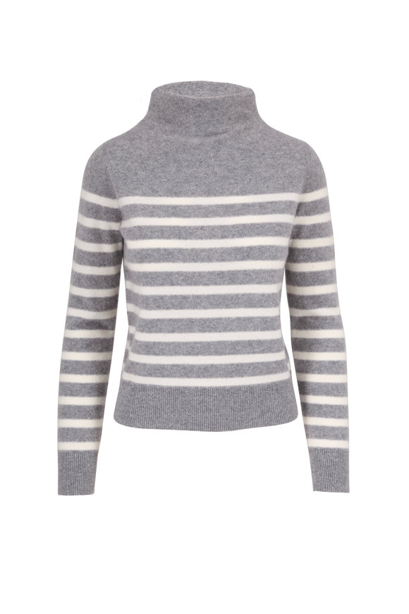 Vince Medium Heather Gray & Off White Striped Sweater