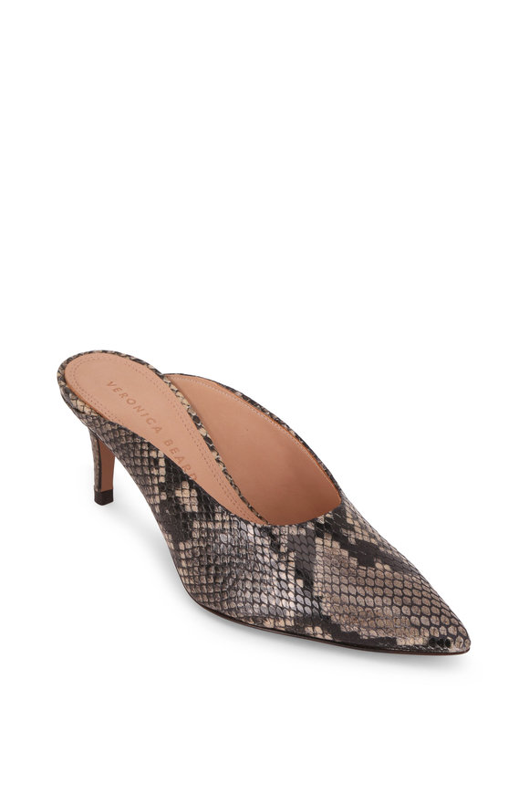 Veronica Beard Taran Taupe Snake Print Leather Mule, 65mm