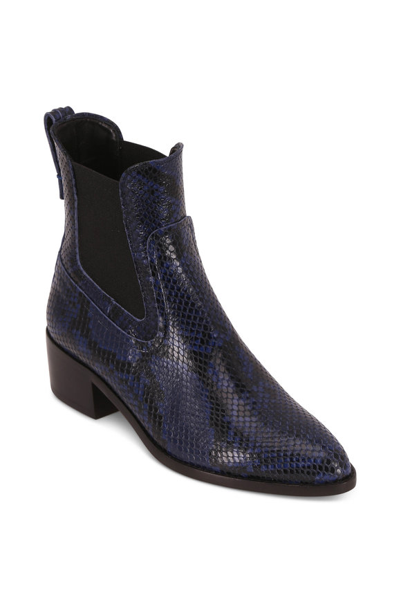 Veronica Beard Wells Indigo Leather Snake Print Boot, 40mm