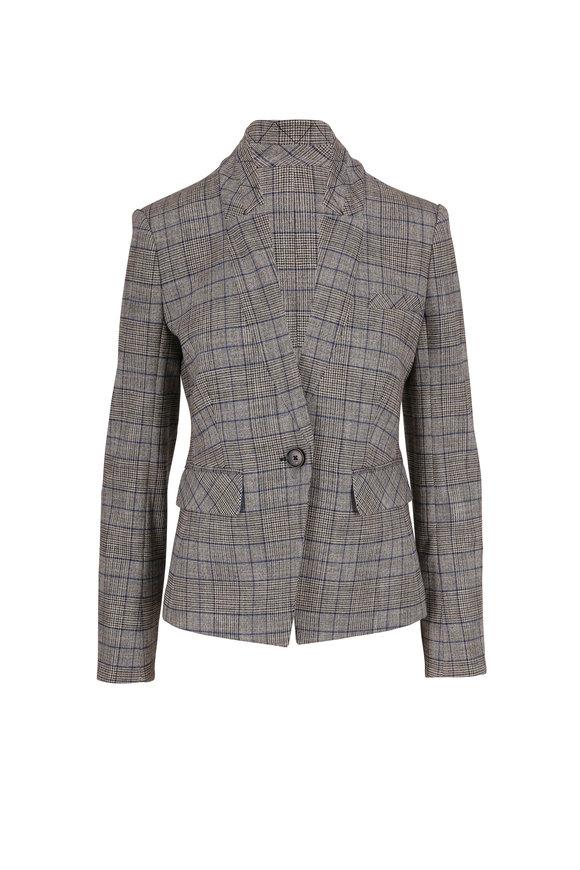 Veronica Beard Farley Gray Plaid Single Button Dickey Jacket