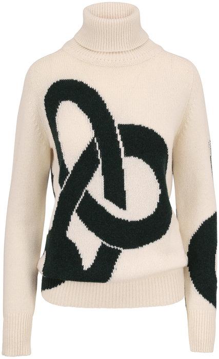 Victoria Beckham Cream & Dark Green Intarsia Knit Cashmere Sweater