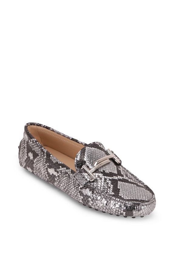 Tod's Gommini Double T Silver Python Embossed Driver