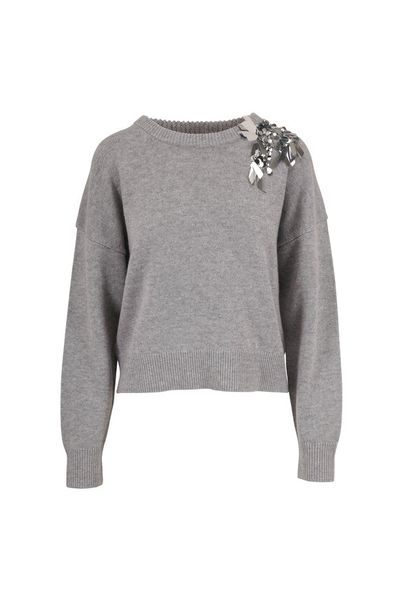 Dorothee Schumacher Playful Mind Gray Embroidered Sweater