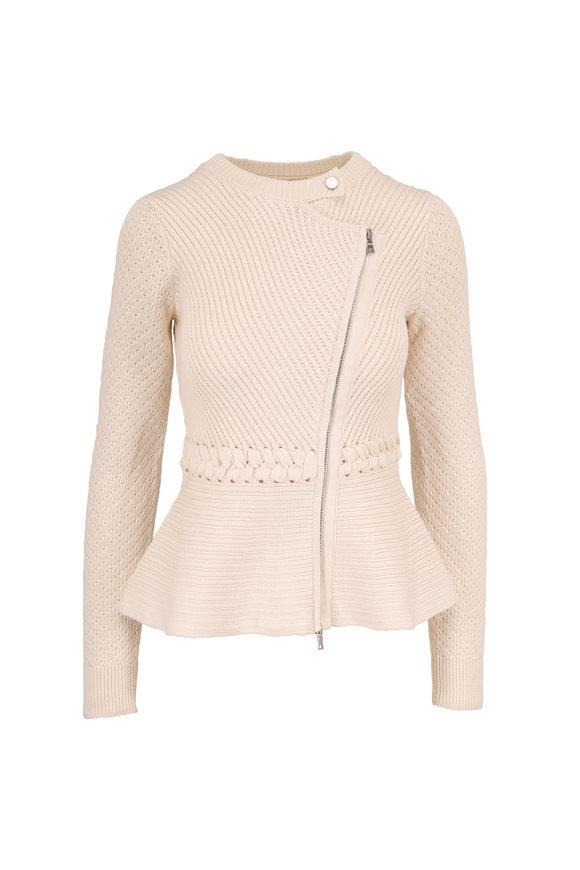 Jonathan Simkhai Ivory Braided Cotton Blend Mixed Knit Jacket