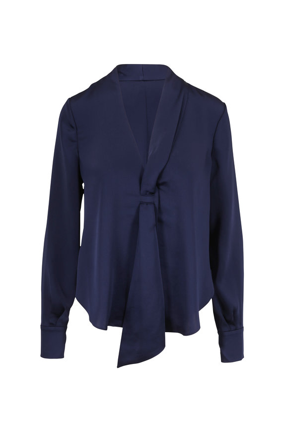 Jonathan Simkhai Midnight Fluid Satin Sash V-Neck Blouse