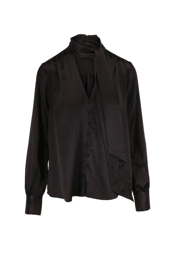 Jonathan Simkhai Black Silk Tie-Neck Button Down Blouse