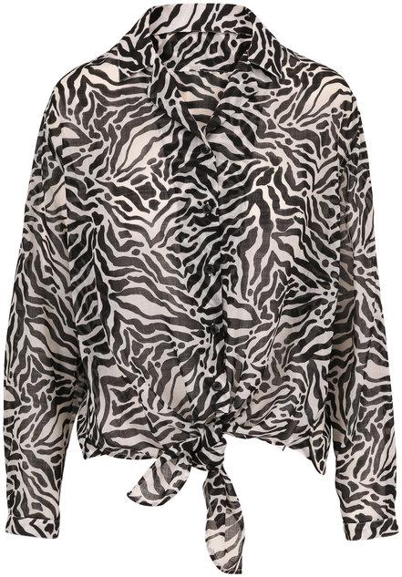Saint Laurent Black & White Tiger Print Tie Front Blouse