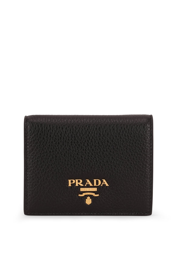 Prada Black & Red Grained Leather Fold Over Wallet