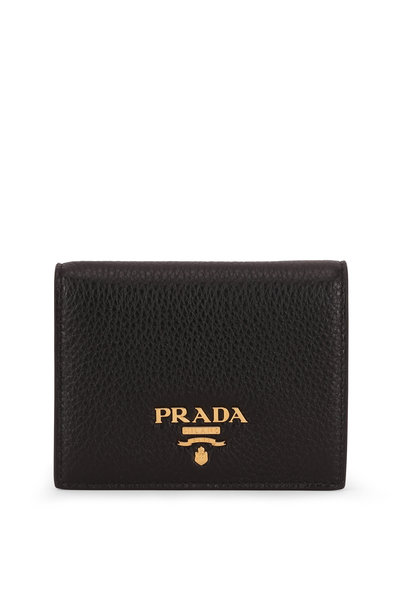 Prada - Black & Red Grained Leather Fold Over Wallet