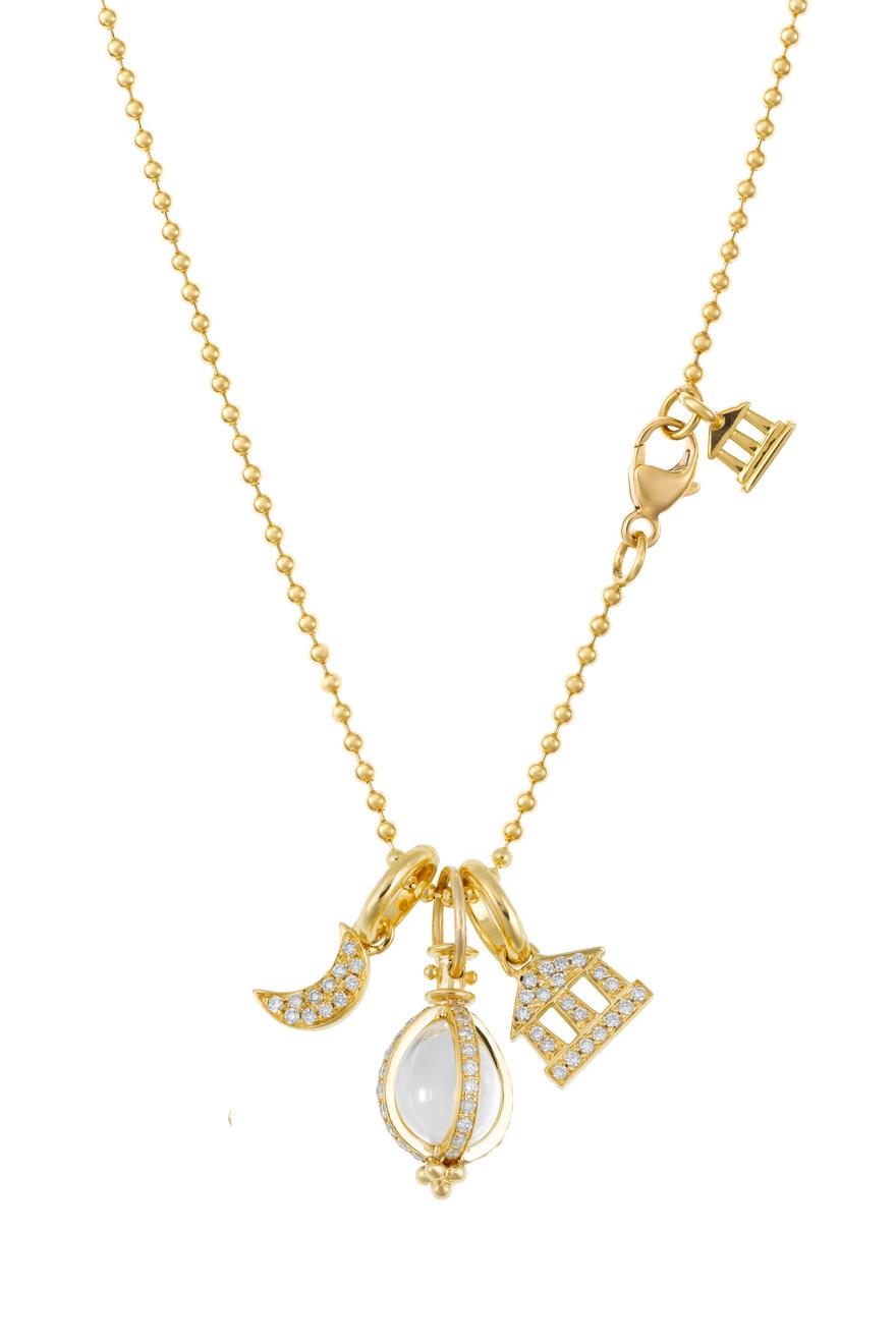 Amor Charm Set: Diamond Luna, Temple & Crystal Egg Necklace