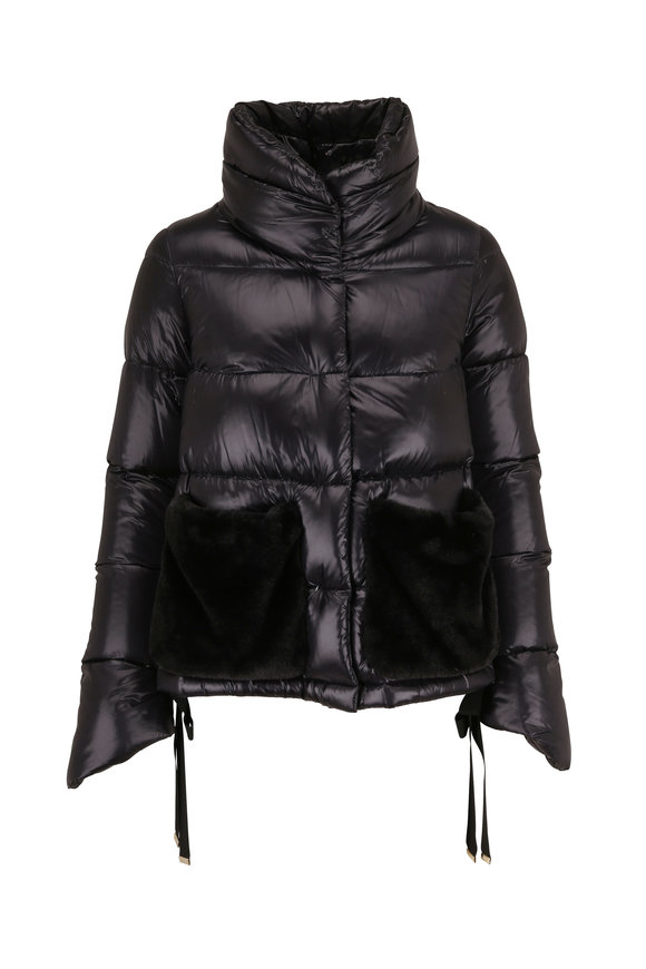 Herno Black Quilted Eco Fur Pockets Puffer Coat