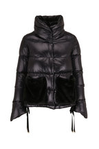 Herno - Black Quilted Eco Fur Pockets Puffer Coat