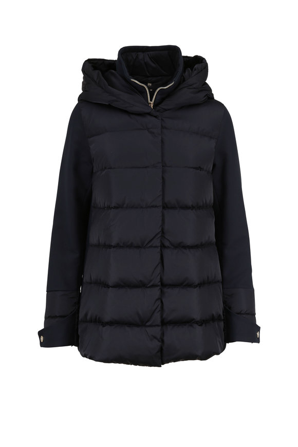 Herno Navy Blue Mixed Media Polar Tech Hooded Coat