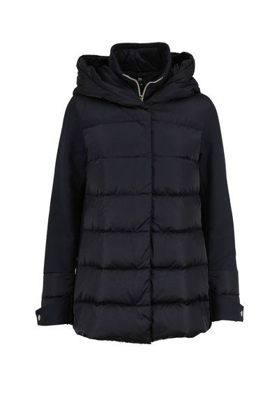 Herno - Navy Blue Mixed Media Polar Tech Hooded Coat