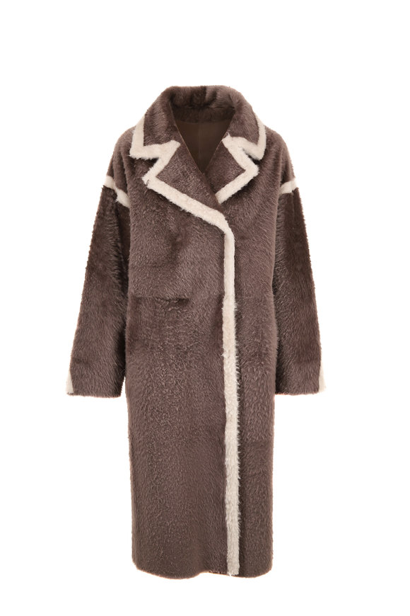 Viktoria Stass Dusty Gray & Ivory Reversible Shearling Coat
