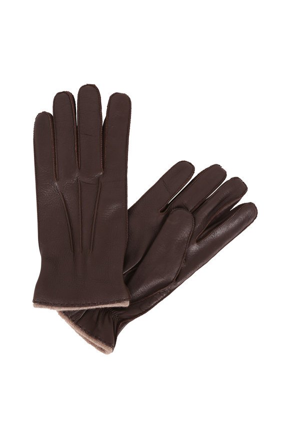 Portolano Brown Deerskin & Cashmere Lined Gloves