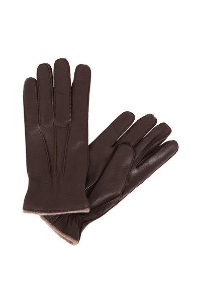 Portolano - Brown Deerskin & Cashmere Lined Gloves