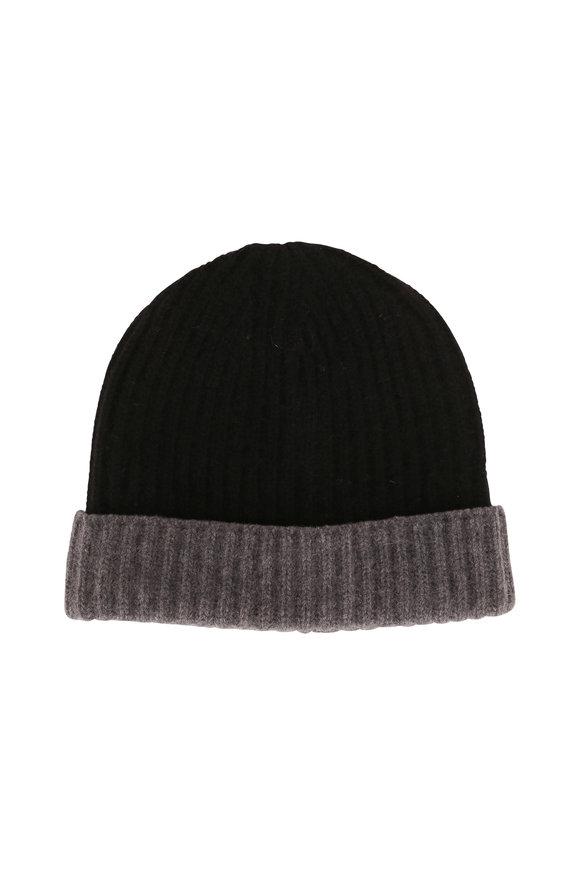 Portolano Black & Gray Ribbed Knit Cashmere Beanie