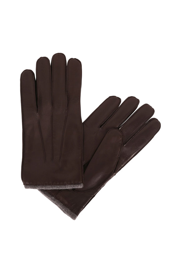 Portolano Brown Leather & Cashmere Lined Gloves