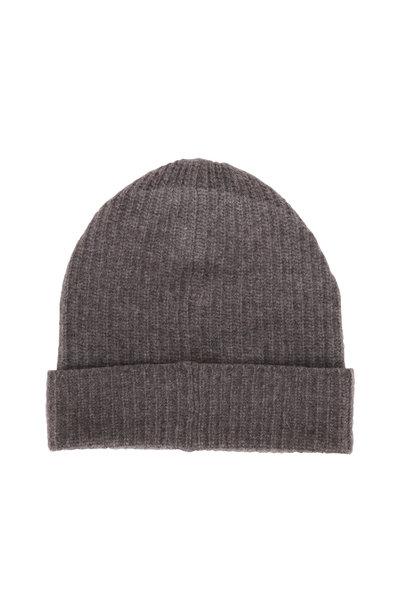 Portolano - Gray Ribbed Knit Cashmere Beanie