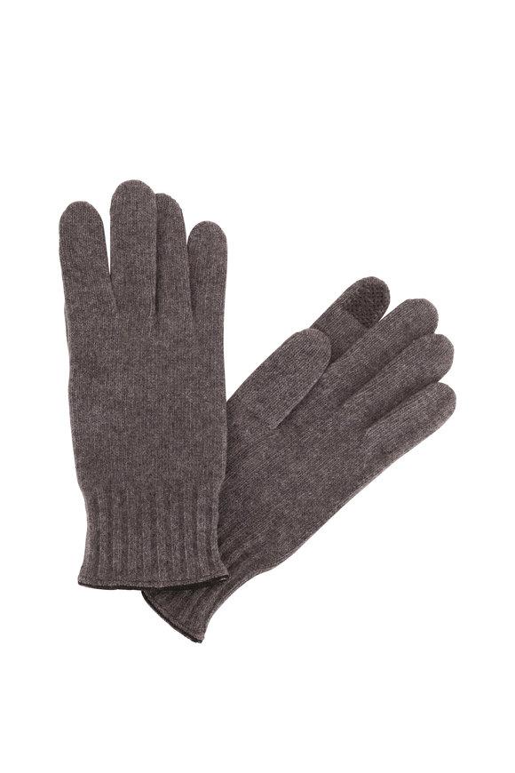 Portolano Gray Cashmere & Leather Trim Tech Gloves