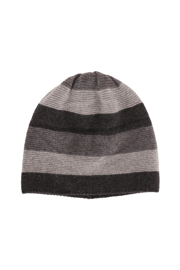 Portolano Gray Striped Cashmere Beanie