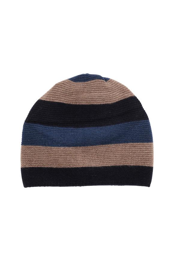 Portolano Navy & Sapphire Striped Cashmere Hat