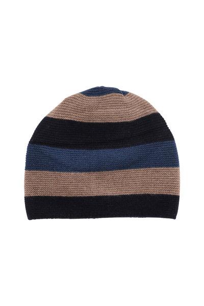 Portolano - Navy & Sapphire Striped Cashmere Hat