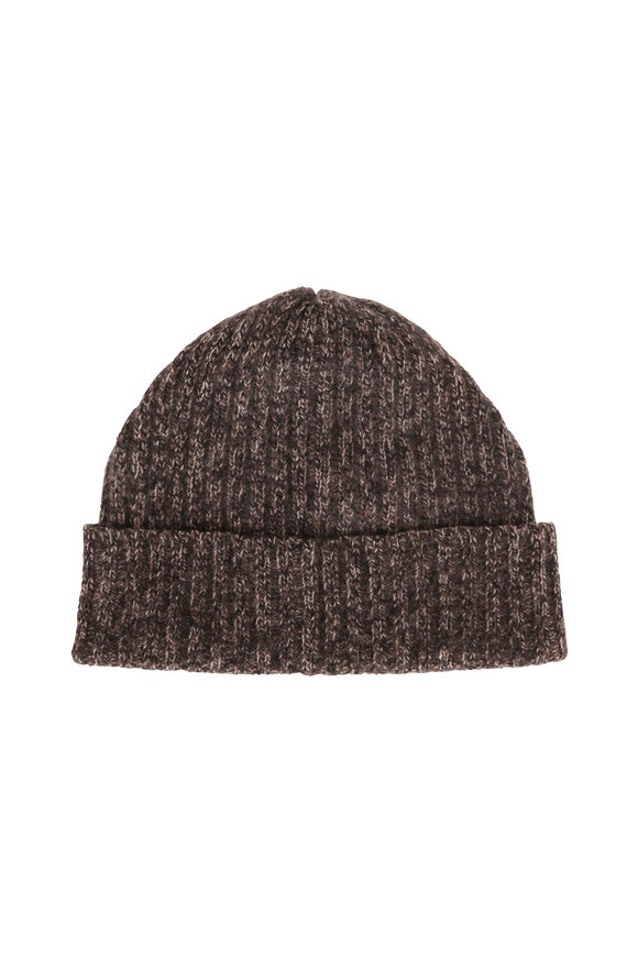 Portolano Tweed Black & Brown Heather Cashmere Beanie
