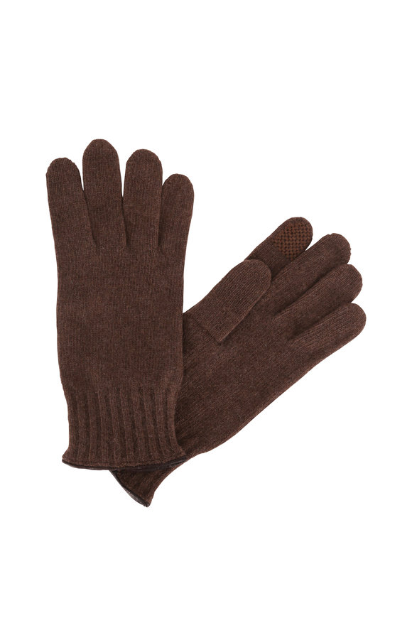 Portolano Brown Cashmere & Leather Trim Tech Gloves