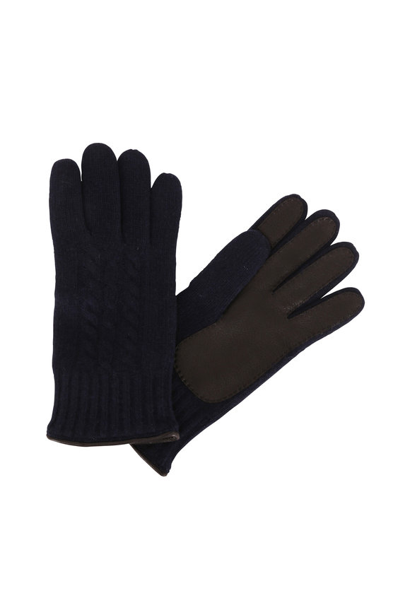 Portolano Navy Cashmere & Black Leather Gloves