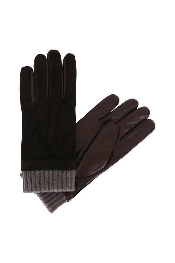 Portolano Black Suede & Ribbed Cashmere Gloves