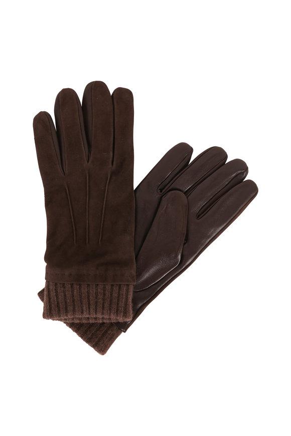 Portolano Teak Brown Suede & Ribbed Cashmere Cuff Gloves