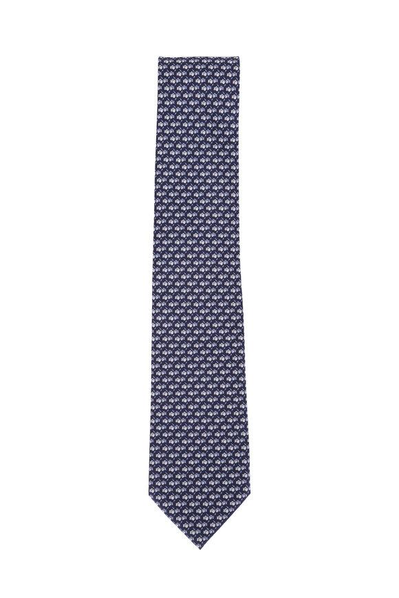 Salvatore Ferragamo Navy Blue Boxing Glove Silk Necktie