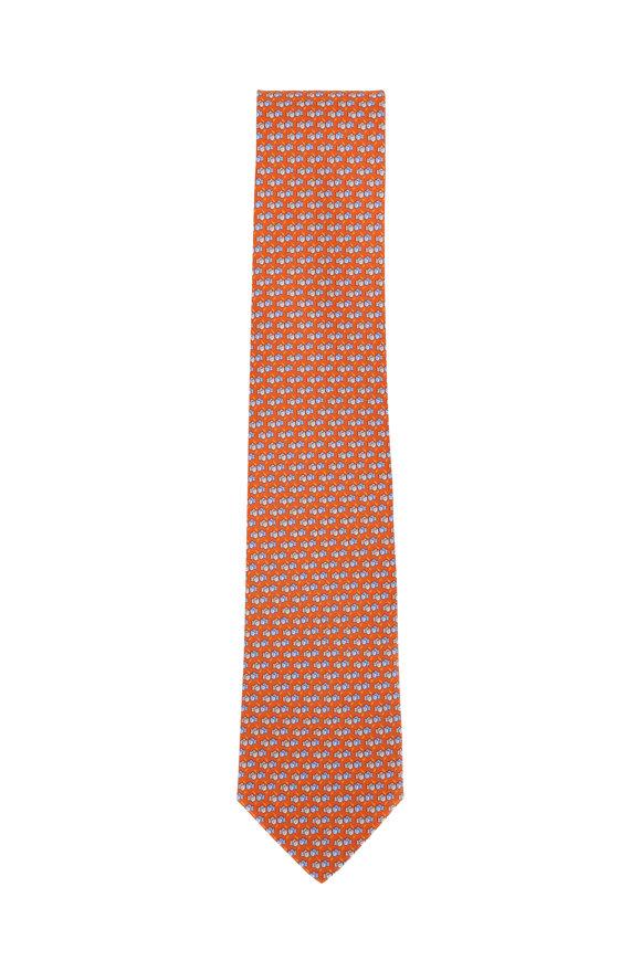 Salvatore Ferragamo Orange Boxing Glove Silk Necktie