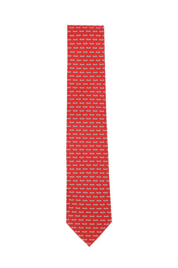 Salvatore Ferragamo Red Car Silk Necktie