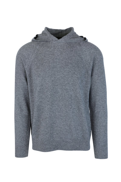 Vince - Gray Wool & Cashmere Hooded Sweater