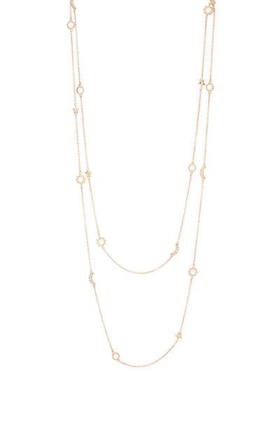 Monica Rich Kosann - Yellow Gold Moon & Stars Station Necklace